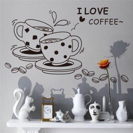 Samolepka na zeď Šálky kávy