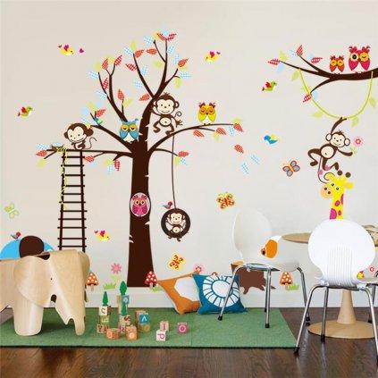 Samolepka na zeď Strom s houpačkou a zvířátky ze Zoo