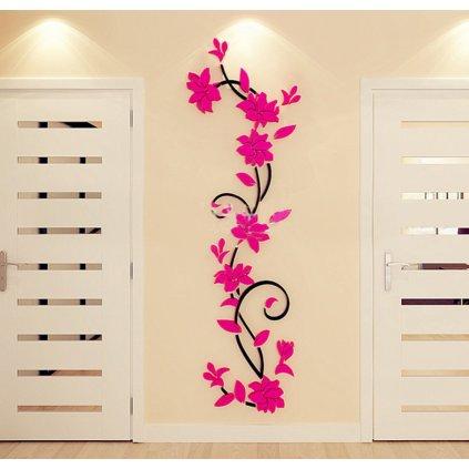 Samolepka na zeď Tmavě růžové 3D Kytky