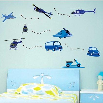 Samolepka na zeď Modré dopravní prostředky