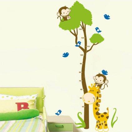 Samolepka na zeď metr Žirafa s opičkami