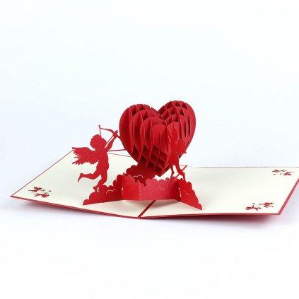 3D přání Srdce s Amory