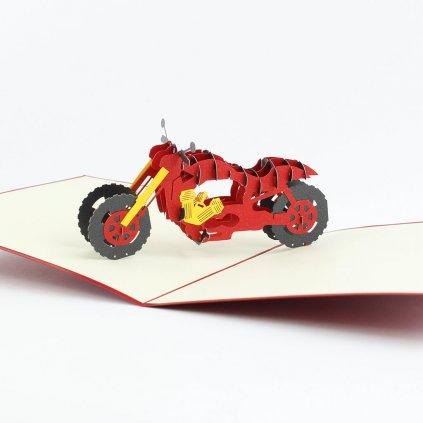 3D přání Červená motorka