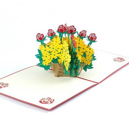 3D přání Proutěný košík s květinami