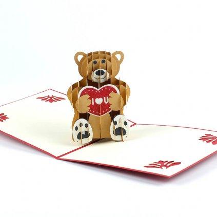 3D přání Medvídek z lásky