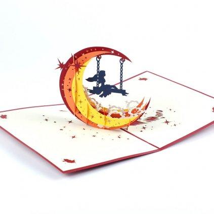 3D přání Měsíční dívka na houpačce