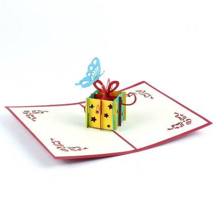 3D přání Dárek k narozeninám s motýlkem
