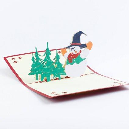 3D přání Sněhulák v lese