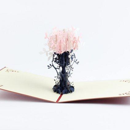 3D přání Růžový keř růží