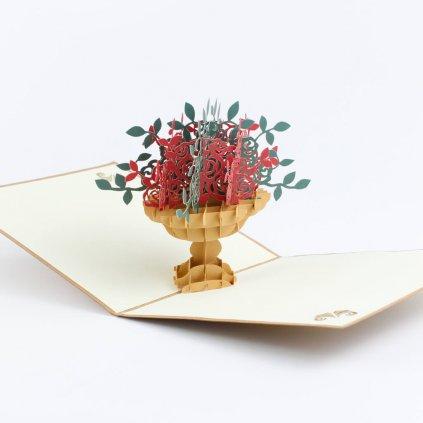 3D přání Růže v květináči