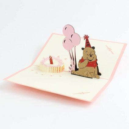3D přání Narozeniny s medvídkem Pú