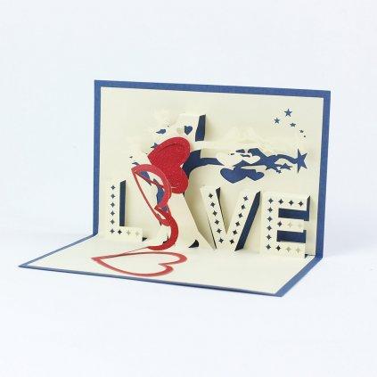 3D přání Modrá láska