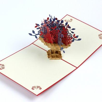 3D přání Červené růže v květináči