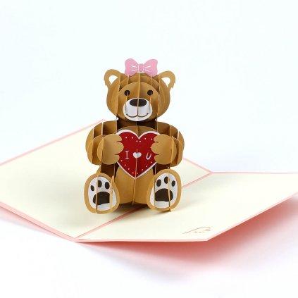 3D přání Medvídek pro zamilované