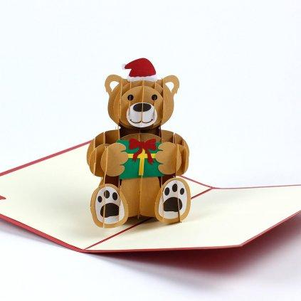 3D přání Veselé Vánoce přeje medvěd