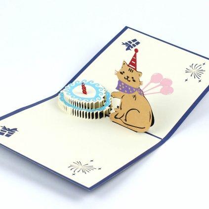 3D přání Šťastné narozeniny s kočičkou