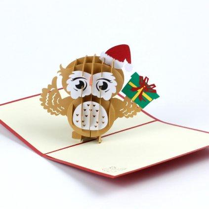 3D přání Veselé Vánoce přeje sovička