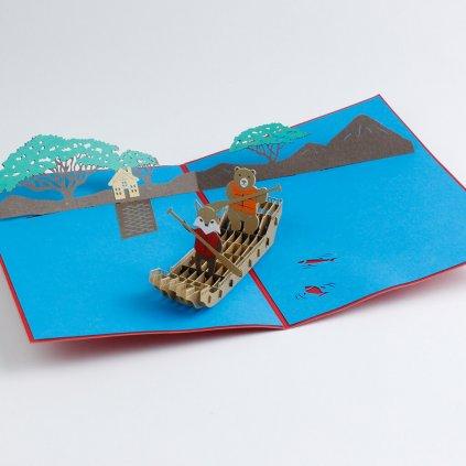 3D přání Liška s medvědem na loďce