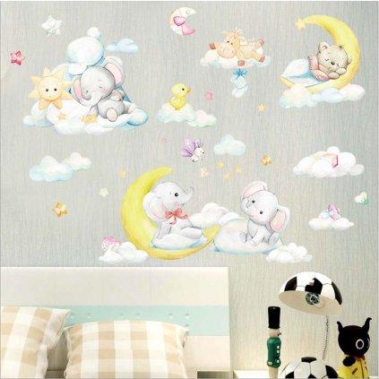 Samolepka na zeď Spící zvířátka