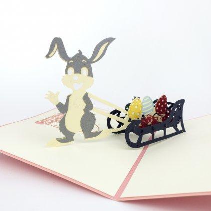 3D přání Sáňky s velikonočním zajíčkem