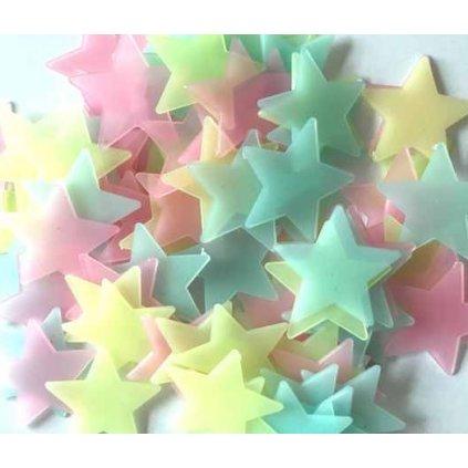 Svítící fosforové barevné hvězdičky 80 ks hvězdy