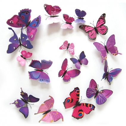 Motýlci magnet a samolepka Fialoví