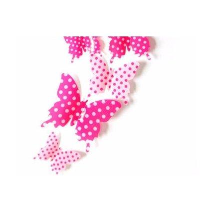 Barevní 3D Motýlci Růžoví s puntíky