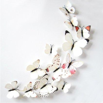 3D Motýlci Bílí magnet samolepka