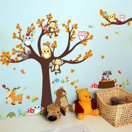 samolepka na zeď Strom a zvířátka