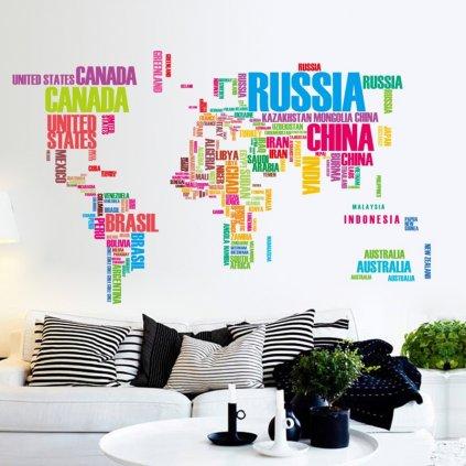 Samolepka na zeď barevná mapa Světa