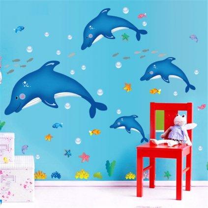 samolepka na zeď Modří delfíni