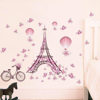 samolepka na zeď Eiffelova věž s motýlky