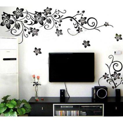 samolepka na zeď plazící se květy