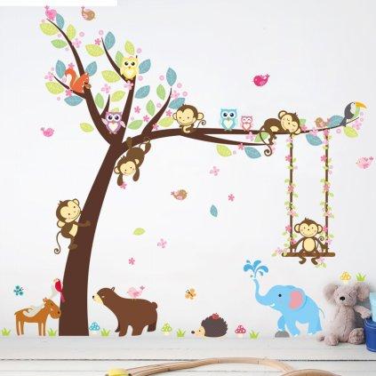 samolepka na zeď Strom s houpačkou a zvířátky