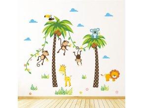 samolepka na zeď Opičky na palmě