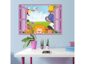 Samolepka na zeď zvířátka ze ZOO v okně