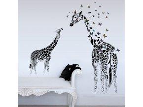 samolepka na zeď Malá a velká Žirafa s motýlky