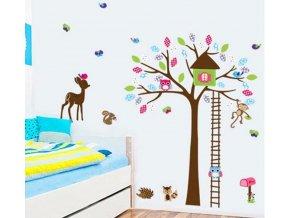samolepka na zeď Strom a lesní zvířátka