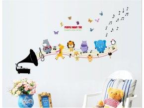 Samolepka na zeď Dětský gramofon se zvířátky