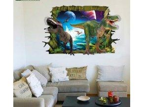 Samolepka na zeď 3D Dinosauři útočí