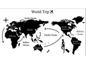 Samolepka na zeď Mapa cesta kolem Světa