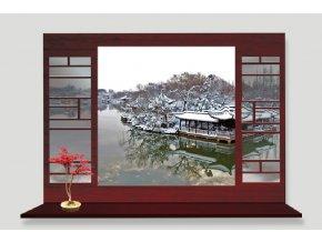 Samolepka na zeď Okno do Asie v zimě
