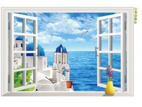 Samolepka na zeď Okno s výhledem na Řecko