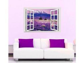 Samolepka na zeď Fialový ráj v okně