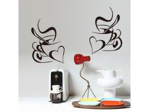 Samolepka na zeď Šálky kávy pro zamilované