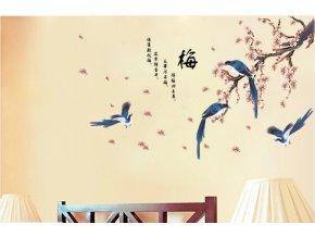 samolepka na zeď Rozkvetlá větev s ptáky