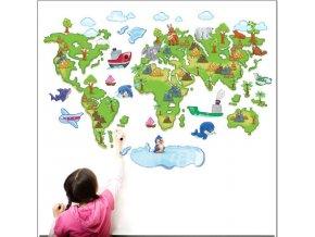 Samolepka na zeď Dětská mapa Světa pro děti