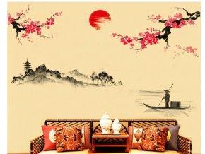 Samolepka na zeď Plující loď při západu slunce
