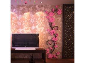 Samolepka na zeď Světle růžové 3D Kytky