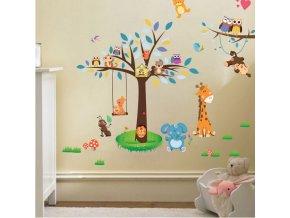 Samolepka na zeď Stromek a zvířátka